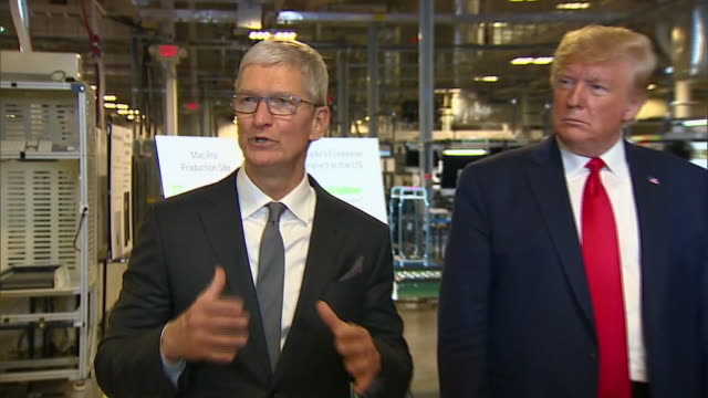 apple ceo tim cook thanks the trump administration during a tour of the apple facility in austin, texas. - made in the usa short phrase stock videos & royalty-free footage