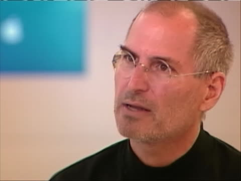 cu of apple cofounder steve jobs giving an interview jobs says but i think people who run around all day worrying about their brand all day long... - walt disney animation studios stock videos & royalty-free footage