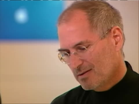cu of apple cofounder steve jobs giving an interview jobs says i'm very lucky that i get to work with a group of extremely talented people and we are... - walt disney animation studios stock videos & royalty-free footage