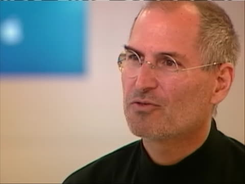 cu of apple cofounder steve jobs is giving an interview jobs says when we talk about our work you know the people i work with and myself when we... - walt disney animation studios stock videos & royalty-free footage