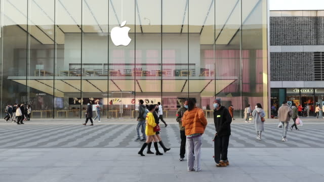 apple has extended the closures of its stores in china until the end of next week due to coronavirus concerns as reported earlier friday by bloomberg... - apple store stock videos & royalty-free footage
