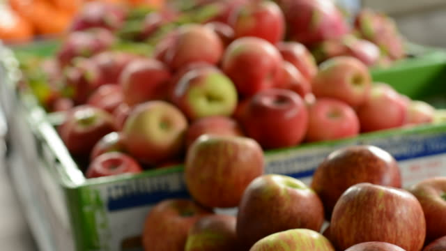 apple in market - apple fruit stock videos and b-roll footage