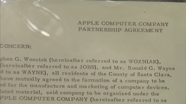 apple inc s founding documents up for sale at sothebys in new york ny on december 8 2011 - apple computer stock-videos und b-roll-filmmaterial