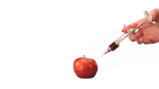 gvo apple spritze mit spritze auf weißem hintergrund - nadel pflanzenbestandteile stock-videos und b-roll-filmmaterial