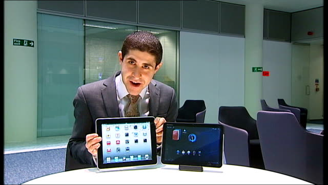 Apple launch iPad 2 in San Francisco ENGLAND London GIR Reporter to camera iPad2 screen showing ITN reporter speaking PULL OUT reporter to camera...