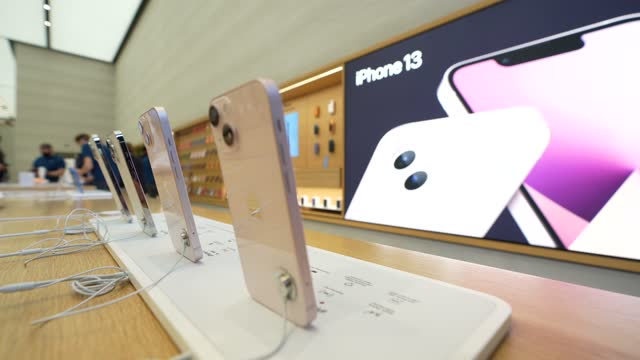 apple launch the new iphone 13 range and ipad mini in the apple store on september 24, 2021 in london, england. - handheld stock videos & royalty-free footage