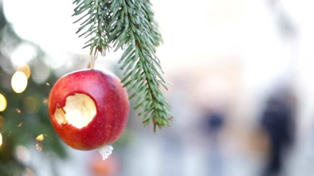 apfel auf weihnachtsbaum in krakau - dekoration stock-videos und b-roll-filmmaterial