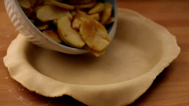 cu apple slices added to pastry in dish / london, uk - pastry dough stock videos & royalty-free footage