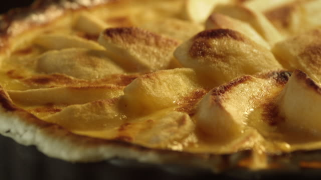 Apple tart in oven - Detail - Different stages of cooking