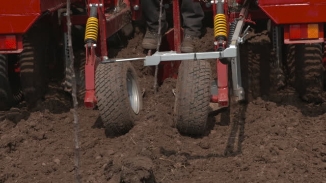 apple tree planting machinery on cider orchard, uk - planting stock videos & royalty-free footage