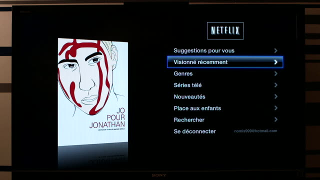 apple tv and netflix french menu showing films and tv series no - netflix stock videos & royalty-free footage