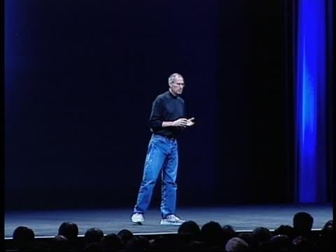 apple's ceo steve jobs announces the date that the first iphones will be shipped during the worldwide developers conference in san francisco on june... - smart phone stock videos & royalty-free footage