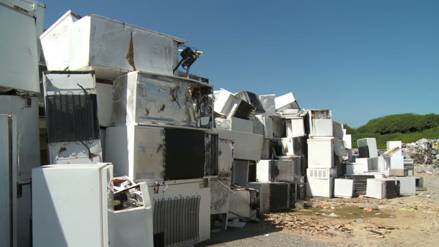 hd: appliances at the landfill - refrigerator stock videos and b-roll footage
