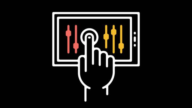vidéos et rushes de application de paramètres aperçu ligne icône animation avec alpha - infographie