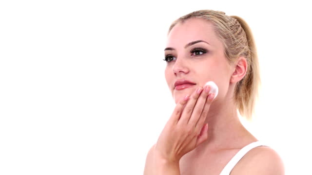 appliying foam on natural female beauty face - applying stock videos and b-roll footage