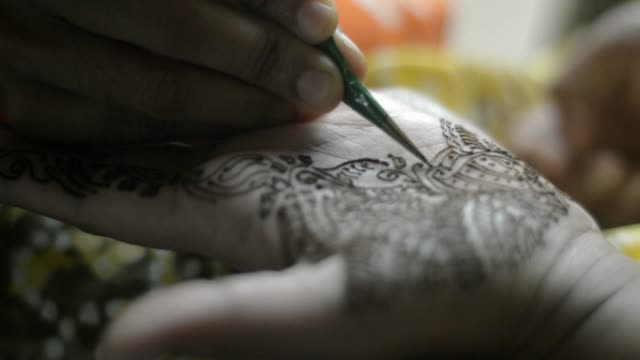 applying henna tattoo - ceremony stock videos & royalty-free footage