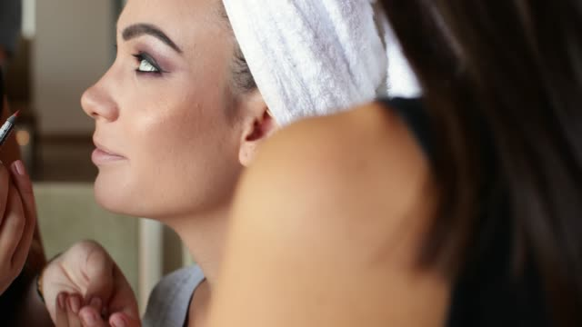 applying lip liner on beauty contest model lips - lip liner stock videos & royalty-free footage