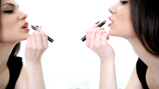 applying lipstick - ladies' night stock videos and b-roll footage
