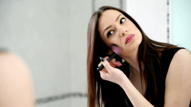applying make up - blusher make up stock videos and b-roll footage