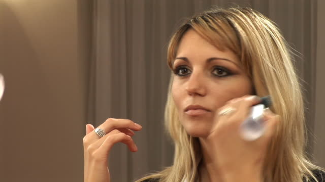 hd: applying make up - blusher make up stock videos and b-roll footage