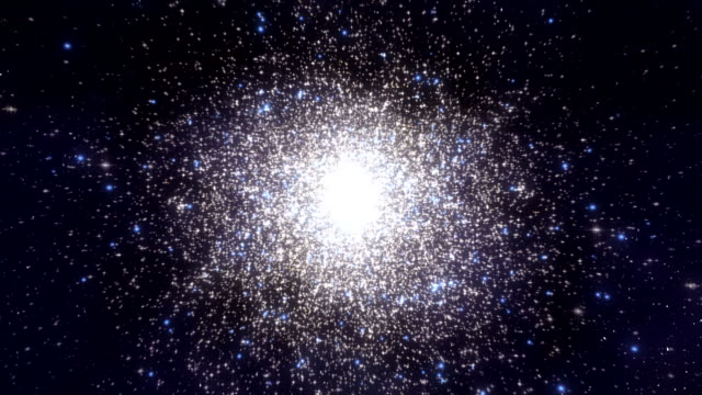 Approaching a globular cluster. 3D Animation