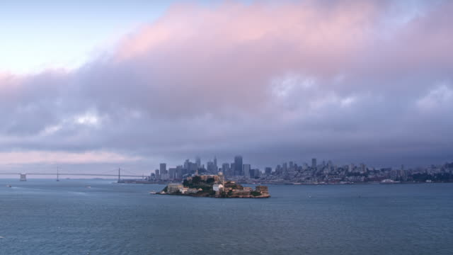 aerial approaching alcatraz island - alcatraz island stock videos & royalty-free footage