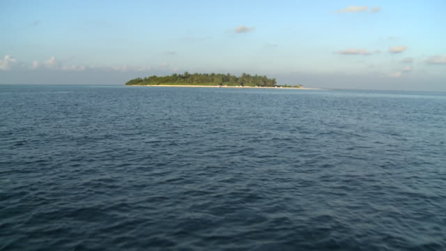 Approaching an Island, view from boat, The Maldives