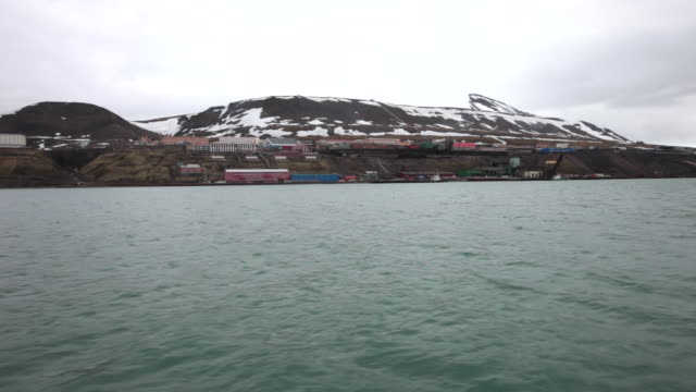 approaching barentsburg, second largest settlement on svalbard archipelago - 1932 stock videos & royalty-free footage