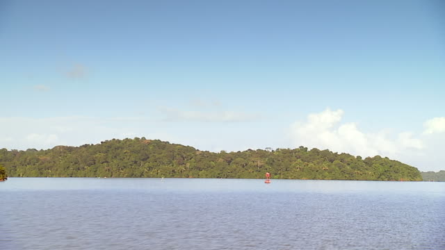 ws pov approaching barro colorado island on boat /  panama city, panama - approaching stock videos & royalty-free footage