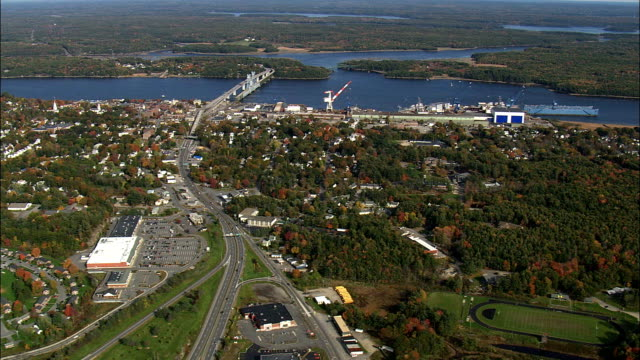 approaching bath and kennebeck river - aerial view - maine,  sagadahoc county,  united states - maine stock videos & royalty-free footage