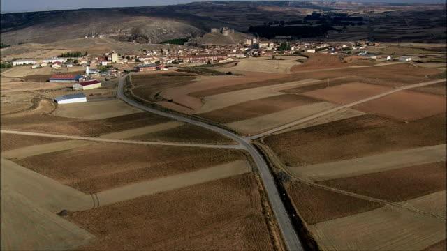 Approaching Berlanga De Duero Castle  - Aerial View - Castille and León, Soria, Berlanga de Duero, Spain