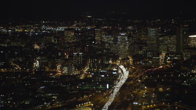 approaching downtown boston at night. shot in 2011. - boston massachusetts stock videos & royalty-free footage