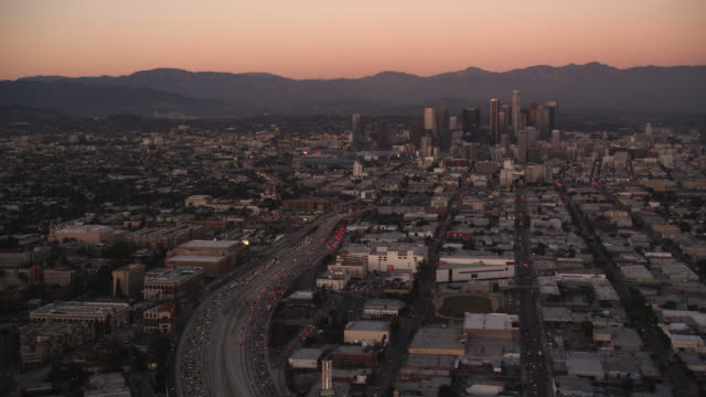 Approaching downtown Los Angeles in evening light. Shot in October 2010.