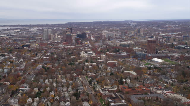 approaching downtown new haven, connecticut, looking south. shot in november 2011. - artbeats video stock e b–roll