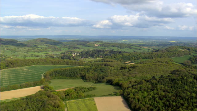 approaching eastnor castle - aerial view - england,  herefordshire,  eastnor,  united kingdom - herefordshire stock videos & royalty-free footage