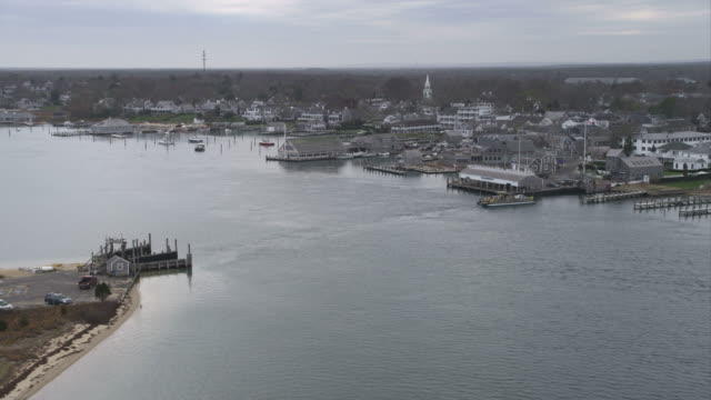 Approaching Edgartown, Massachusetts; ferry coming into slip at terminal. Shot in November 2011.