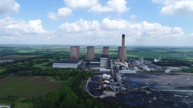 Approaching Eggborough Power Station Aerial Video 4k
