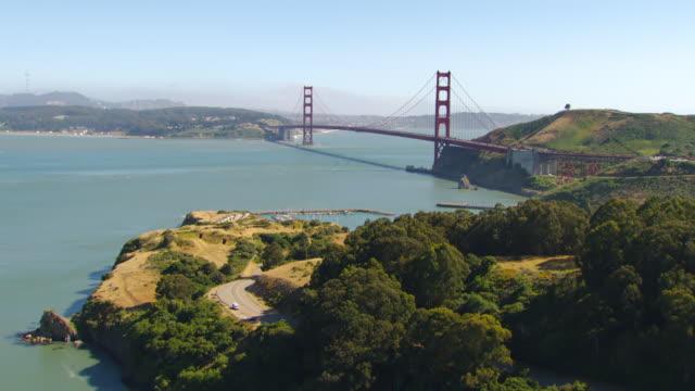 WS AERIAL Approaching Golden Gate Bridge / San Francisco, California, United States