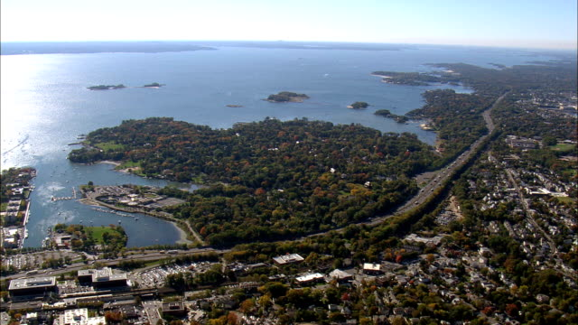 approaching greenwich and belle haven  - aerial view - connecticut,  fairfield county,  united states - connecticut stock videos & royalty-free footage