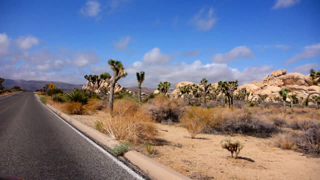 stockvideo's en b-roll-footage met approaching hall of horrors in joshua tree national park - nationaal monument beroemde plaats