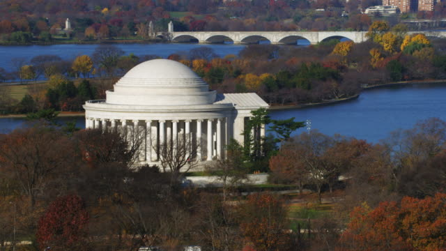 approaching jefferson memorial, washington dc; arlington memorial bridge in background. shot in 2011. - jefferson memorial stock videos & royalty-free footage