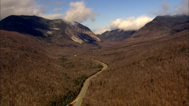 approaching mount lafayette  - aerial view - new hampshire,  grafton county,  united states - appalachian mountains stock videos & royalty-free footage