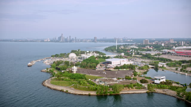 aerial approaching ontario place in toronto, ontario, canada - ontariosee stock-videos und b-roll-filmmaterial