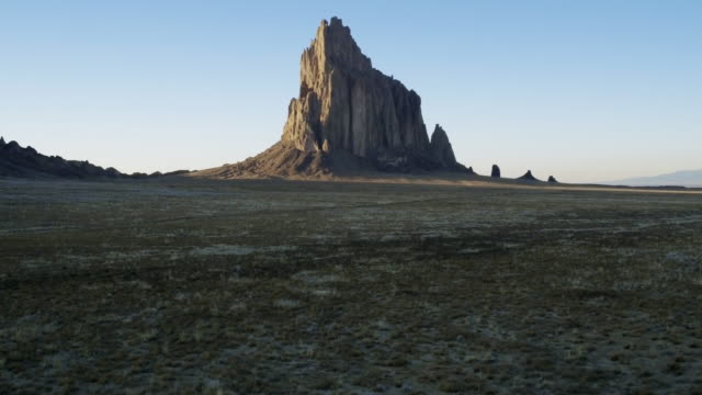 Approaching rock formation, Shiprock, New Mexico, United States