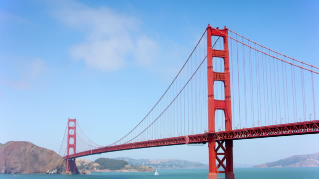 aerial approaching the golden gate bridge in sunshine - golden gate bridge stock videos & royalty-free footage