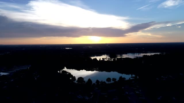 Approaching the Lakes and Reflections at Sunset in Orlando, Florida