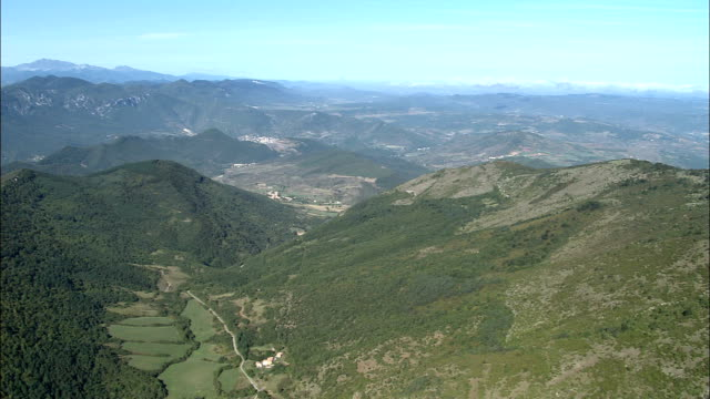 approaching the pyrenees  - aerial view - languedoc-roussillon, aude, arrondissement de limoux, france - aude stock videos & royalty-free footage
