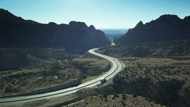 i-70 approaching the san rafael reef - drone shot - san rafael swell stock videos and b-roll footage