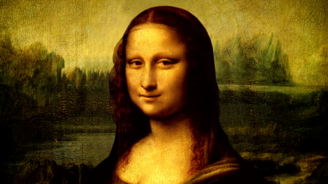 stockvideo's en b-roll-footage met mona lisa portrait talking - schilderijen