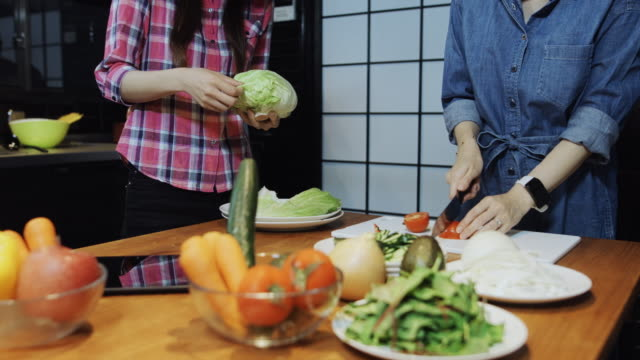 approaching two women chopping vegetables - chopped lettuce stock videos & royalty-free footage